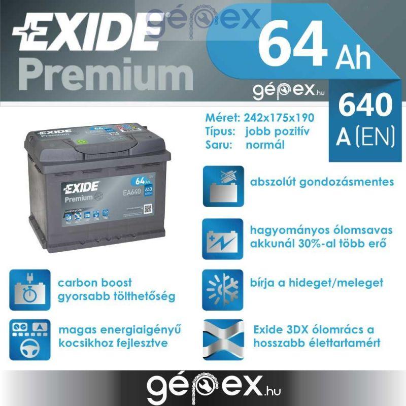 Exide Premium 64Ah 640A J+ EA640