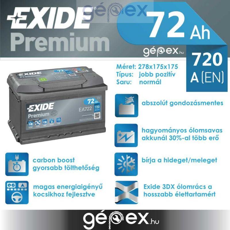 Exide Premium 72Ah 720A J+ EA722