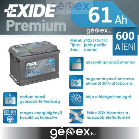 Exide Premium 61Ah 600A J+
