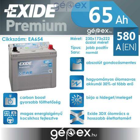 Exide Premium 65Ah 580A J+ japán