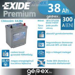 Exide Premium 38Ah 300A J+ japán