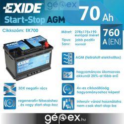 Exide AGM 70Ah 760A J+