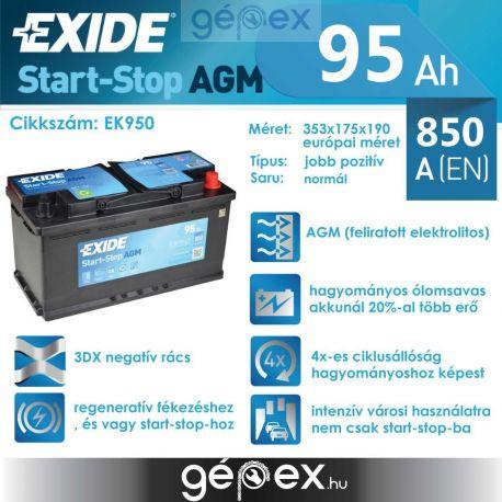 Exide AGM 95Ah 850A J+