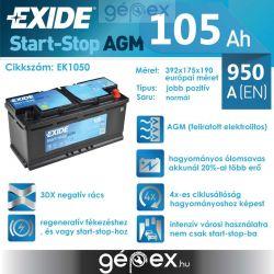Exide AGM 105Ah 950A J+