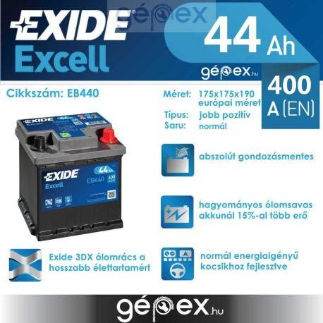 Exide Excell 44Ah 400A J+
