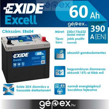 Exide Excell japán 60Ah 390A J+
