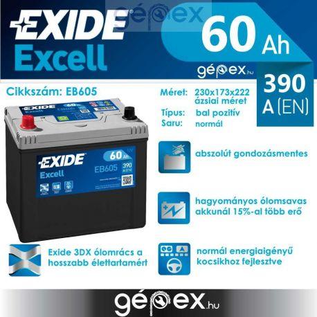 Exide Excell japán 60Ah 390A B+