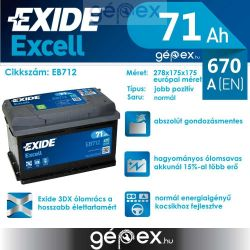 Exide Excell 71Ah 670A J+