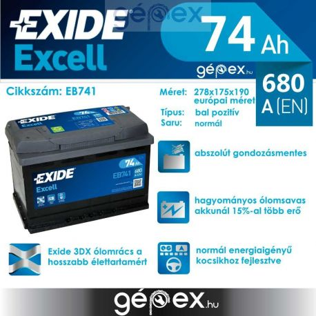 Exide Excell 74Ah 680A B+