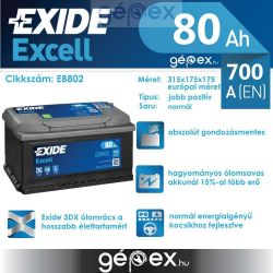 Exide Excell 80Ah 700A J+