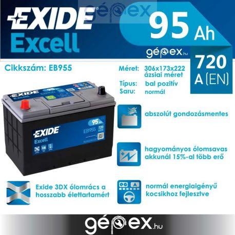 Exide Excell japán 95Ah 720A B+