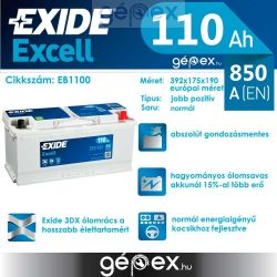 Exide Excell 110Ah 850A J+