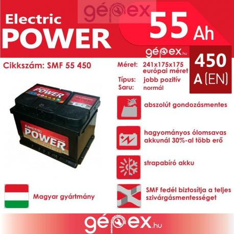 JP Electric Power 55Ah 450A J+ SMF