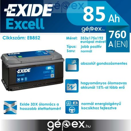 Exide Excell 85Ah 760A J+