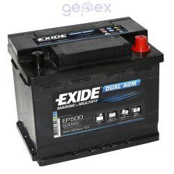 Exide EP500 DUAL AGM 12V 60Ah 500Wh 680A munkaakku és indítóakku