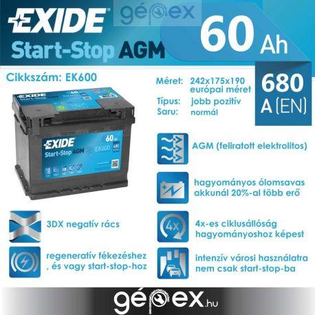 Exide AGM 60Ah 680A J+