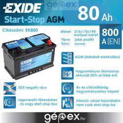 Exide AGM 80Ah 800A J+