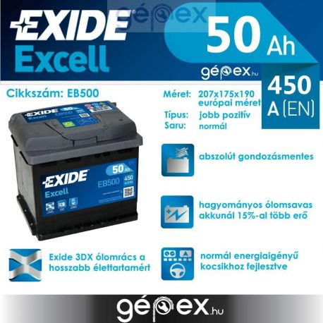 Exide Excell 50Ah 450A J+