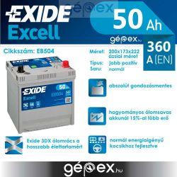 Exide Excell japán 50Ah 360A J+
