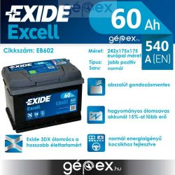 Exide Excell 60Ah 540A J+
