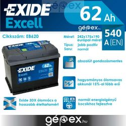 Exide Excell 62Ah 540A J+