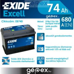 Exide Excell 74Ah 680A J+
